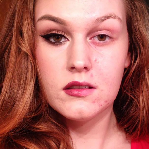 Chica con el cabello rojo y con la mitad del rostro maquillado tomándose una foto para instagram
