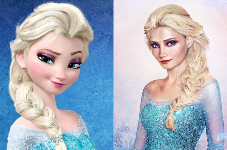 Elsa de Frozen animada y real