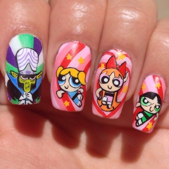 uñas pintadas con los personajes de las chicas super poderosas