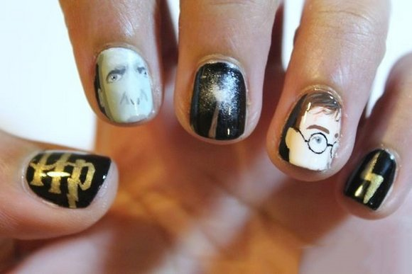 uñas pintadas tipo harry potter