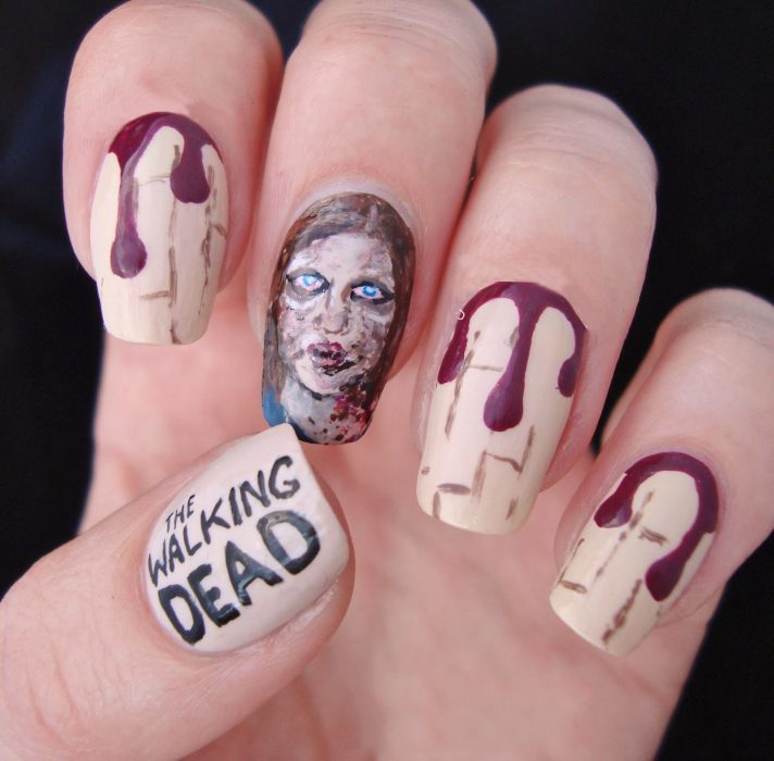 Uñas pintadas como la serie the walking dead