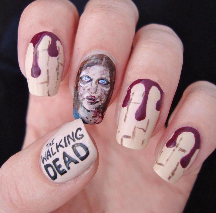 Uñas pintadas como la serie the walking dead