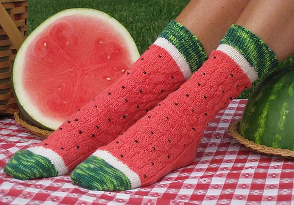calcetines en forma de sandias