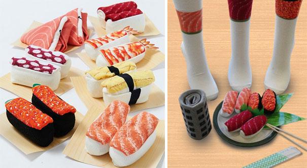 calcetines enrollados en forma de sushi