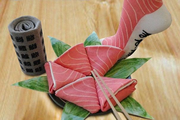 calcetines en forma de sushi