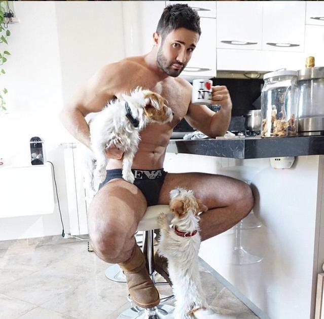 chico con sus perros en la barra de la cocina tomando café