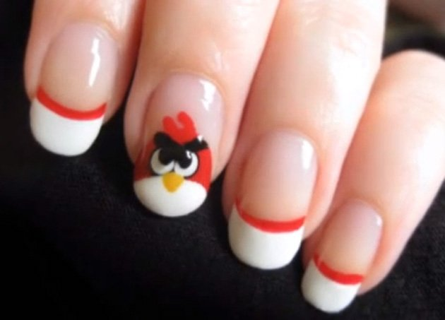 Uñas pintadas como los angry birds