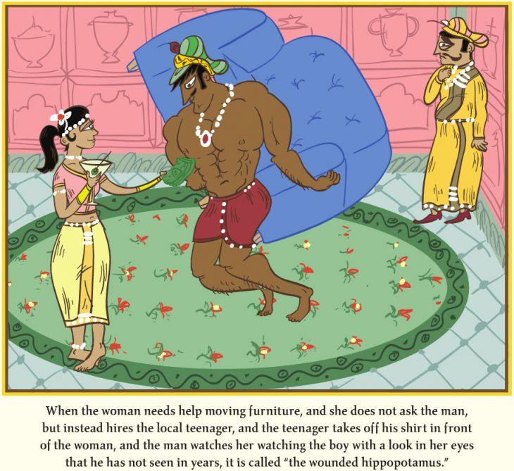 caricatura de la parodia del kamasutra donde los dibujos están cargando muebles de la casa