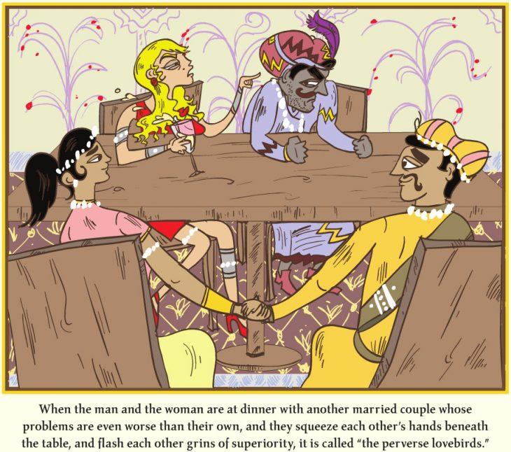 caricatura de la parodia del kamasutra donde los dibujos están sentados al rededor de la mesa conversando con otros