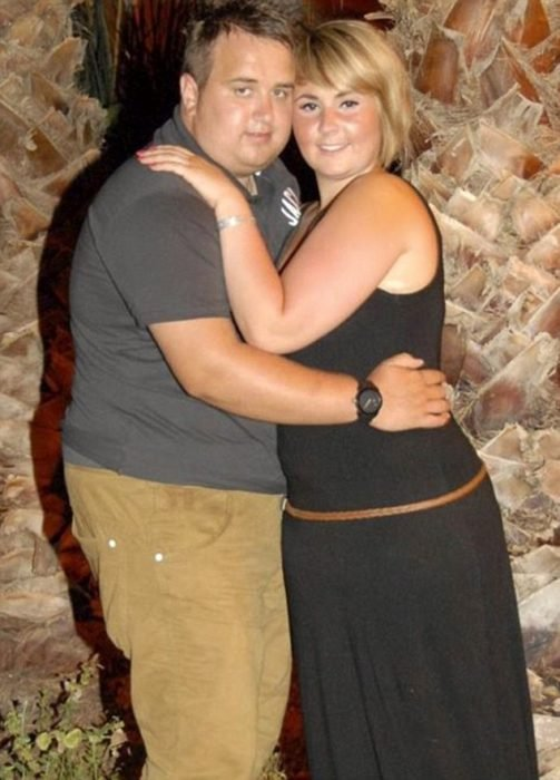 pareja de novios gorditos abrazados
