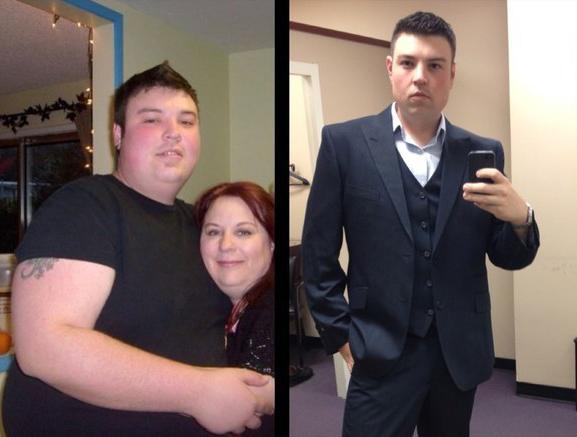 chico mostrando su antes y después de la perdida de peso