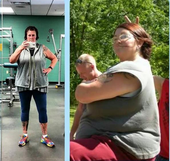 mujer obesa saludando y luego en el gimnasio
