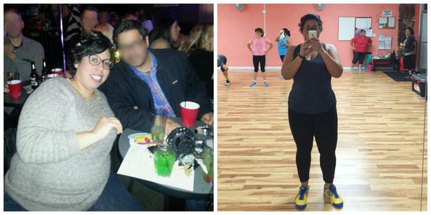 mujer gordita cenando con un amigo y después tomándose una foto frente al espejo del gimnasio