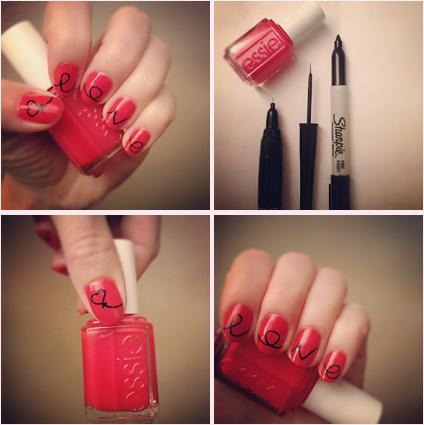 uñas rojas pintadas con marcadores permanentes