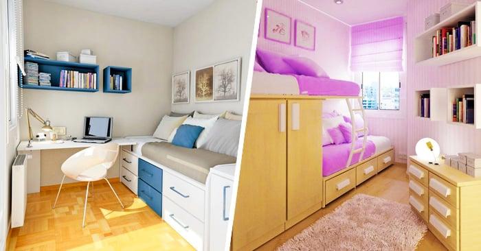 20 incre bles ideas para ahorrar espacio en una habitaci n - Escritorios para habitaciones pequenas ...
