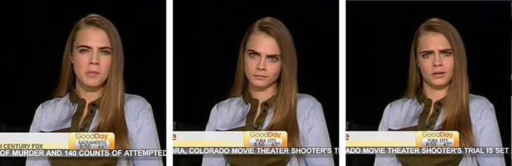 Expresiones faciales de Cara Delevingne