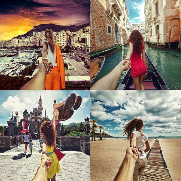 Fotos en distintos lugares de la misma pareja