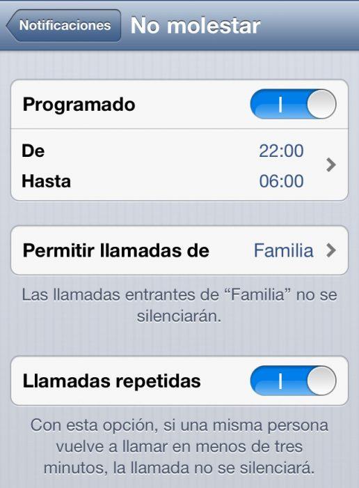 Función no molestar de iPhone
