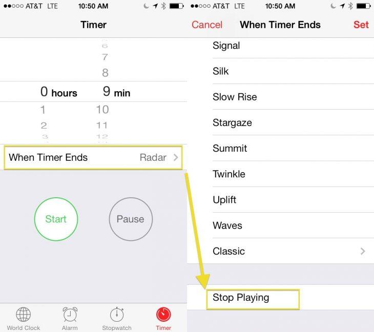 Apagar música con temporizador iPhone