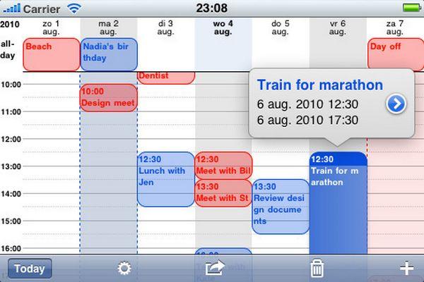 Agenda detallada en iPhone