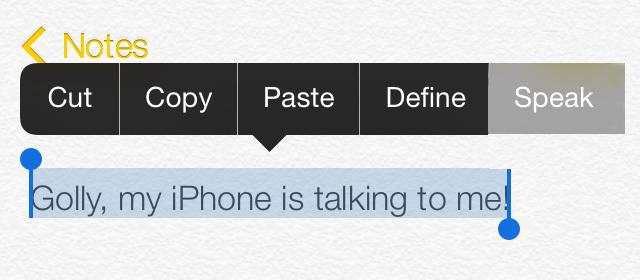 Siri lee texto seleccionado