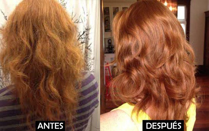 Comparación del cabello de una mujer antes de lavárselo con champú