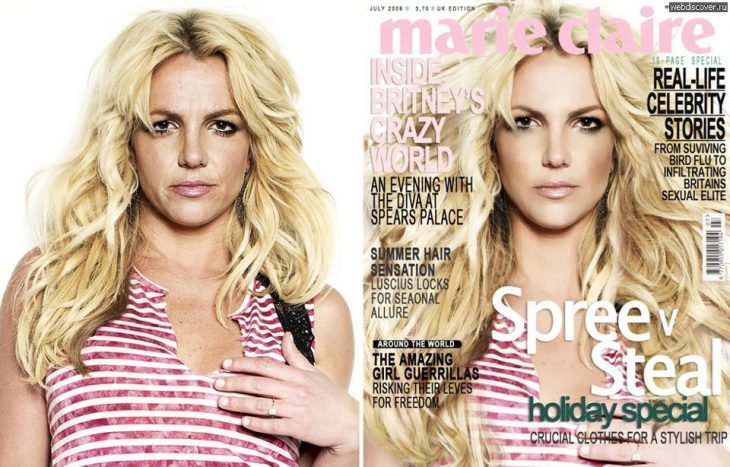 Britney Spears con y sin photoshop