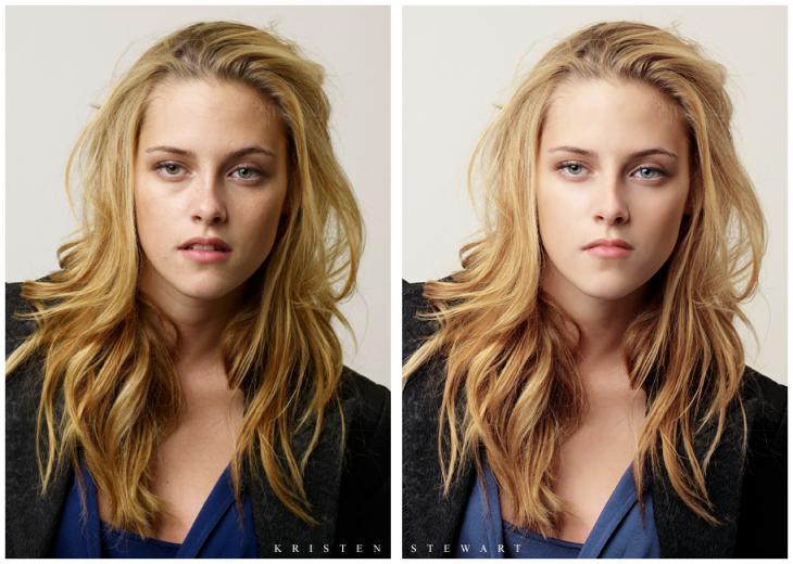Kristen Stewart con y sin photoshop