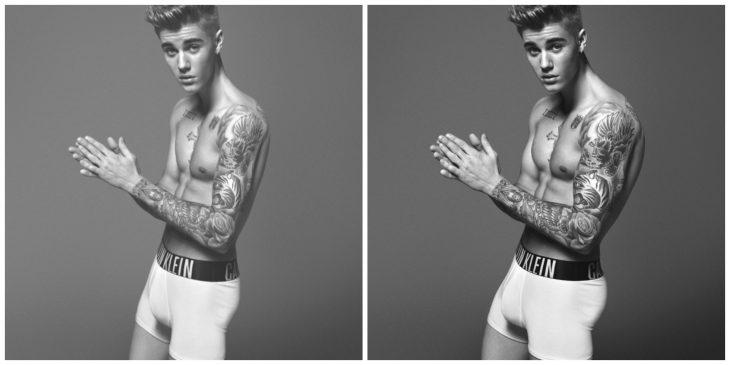 Justin Bieber con y sin photoshop