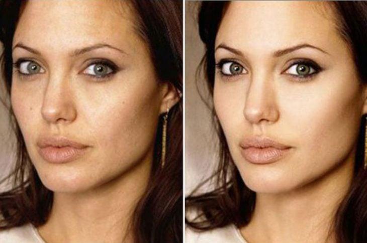 Angelina Jolie con y sin photoshop