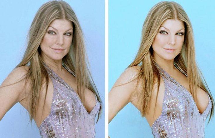 Fergie con y sin photoshop