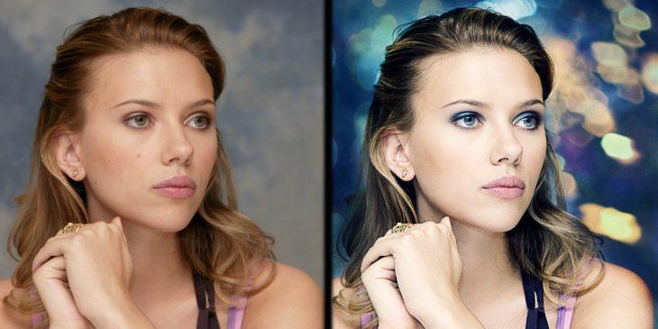 Scarlett Johansson con y sin photoshop