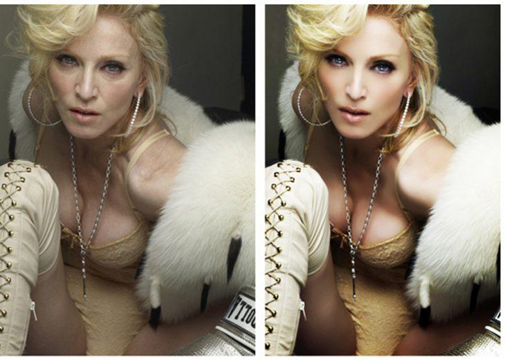 Madonna con y sin photoshop