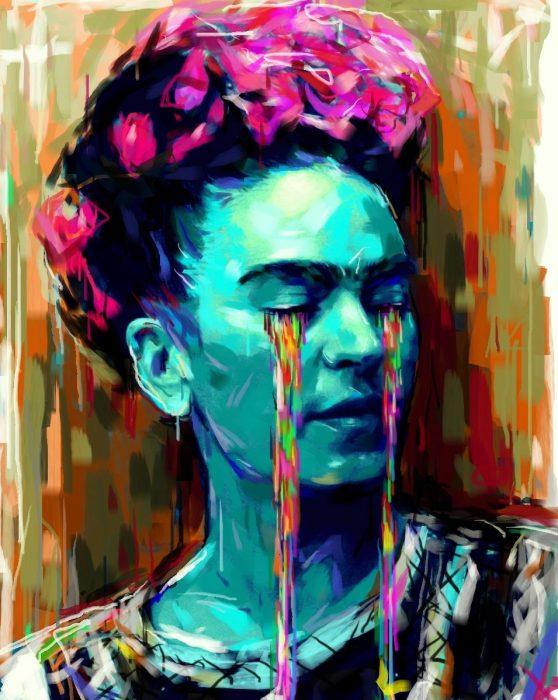 Pintura representando a Frida llorando