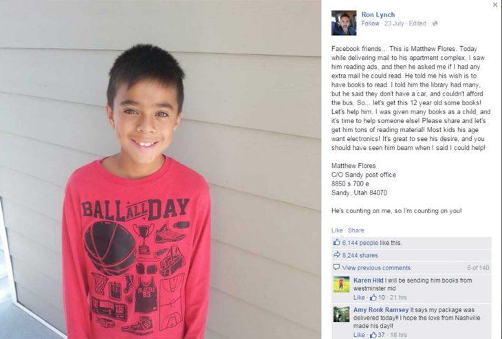 Mathew Flores, el niño que leía propaganda del correo