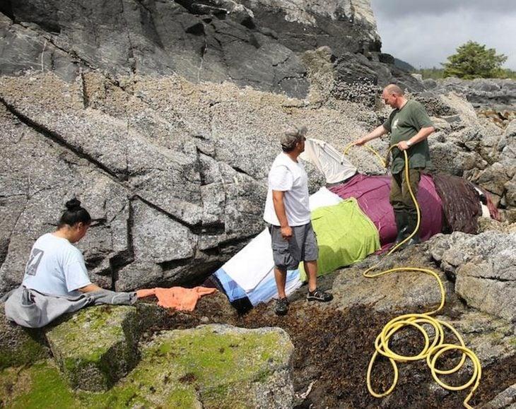 Grupo de rescatistas manteniendo a la orca húmeda
