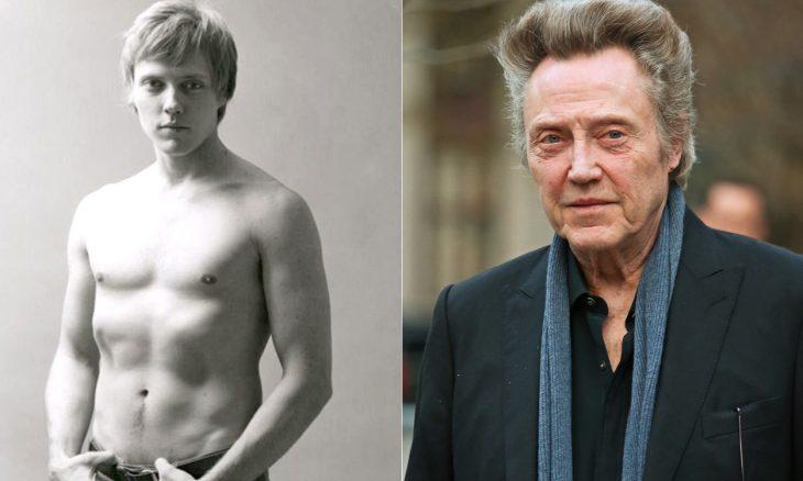 Christopher Walken sin camisa cuando era joven y a la derecha cuando era viejo