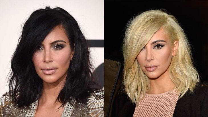 kim kardashian con el cabello corto y negro y después con el cabello color rubio