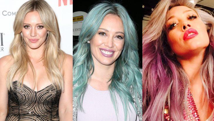 Hilary duff en tres etapas de su cabello, rubio, azul y rosa