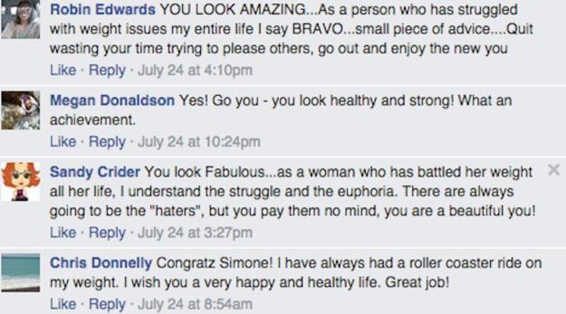 Comentarios en una pubicación de facebook