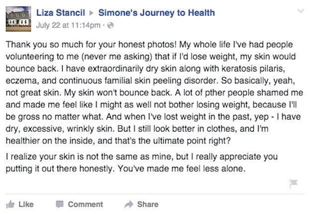 Comentarios en facebook sobre pérdida de peso de una chica