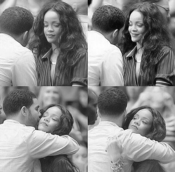 rihana y su novio abrazados riéndose y besándose