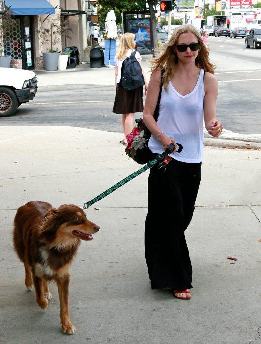 Amanda Seyfried sacando a pasear a su perro
