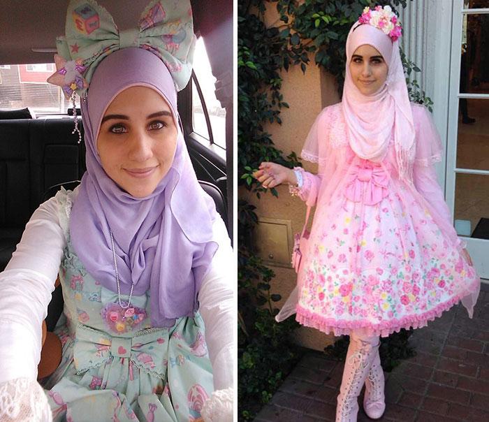 Moda musulmana de lolitas que usan sus hijab chicas usando vestidos en colores pastel y moños gigantes en la cabeza