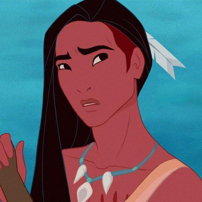 Versión masculina en caricatura de Pocahontas