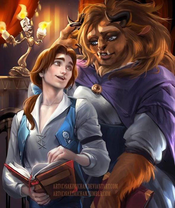 Versión masculina de La bella y femenina de la bestia