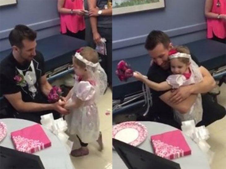 Niña abrazando a un enfermero