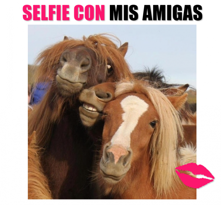 Meme de selfie con mis amigas