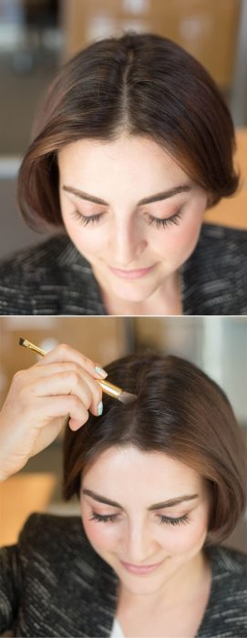 Chica colocándose sombra de ojos en la raíz del cabello