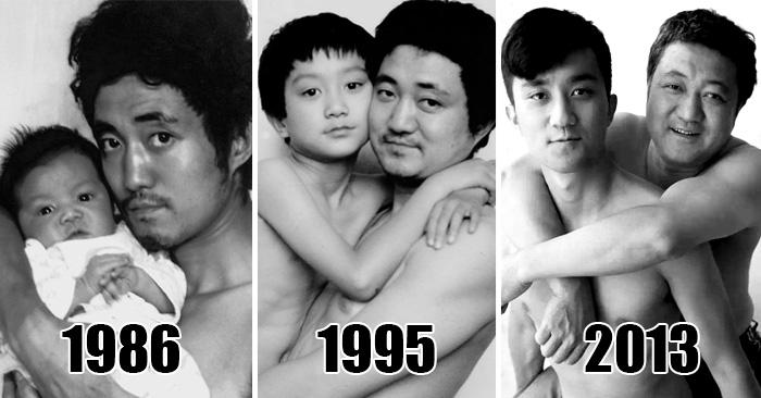 Padre e hijo se toman la MISMA foto durante 28 años, hasta que al FINAL algo cambió